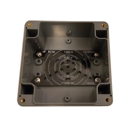 Mounting plate for ring core in 100 x 100 x 55 mm housing secured
